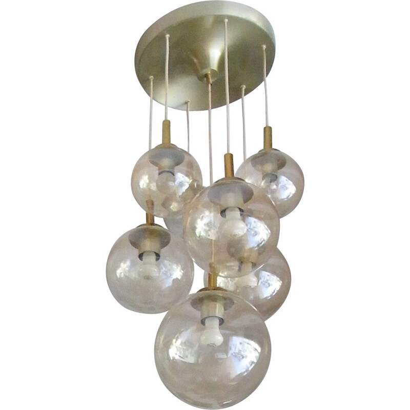 Vintage pendant lamp with 7 globes in glass and brass by Glashütte Limburg - 1970s