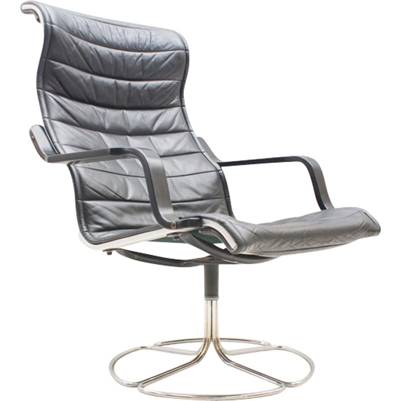 Black Leather Lounge Chair by Bruno Mathsson Sessel for Dux - 1960s