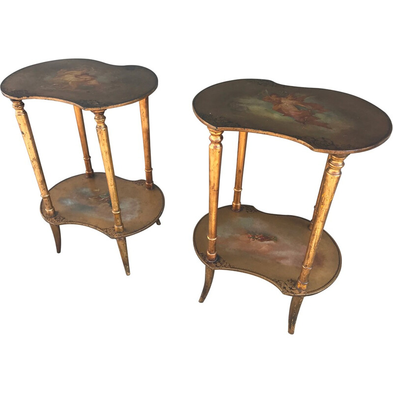 Vintage pair of nightstands with golden patina - 1950s