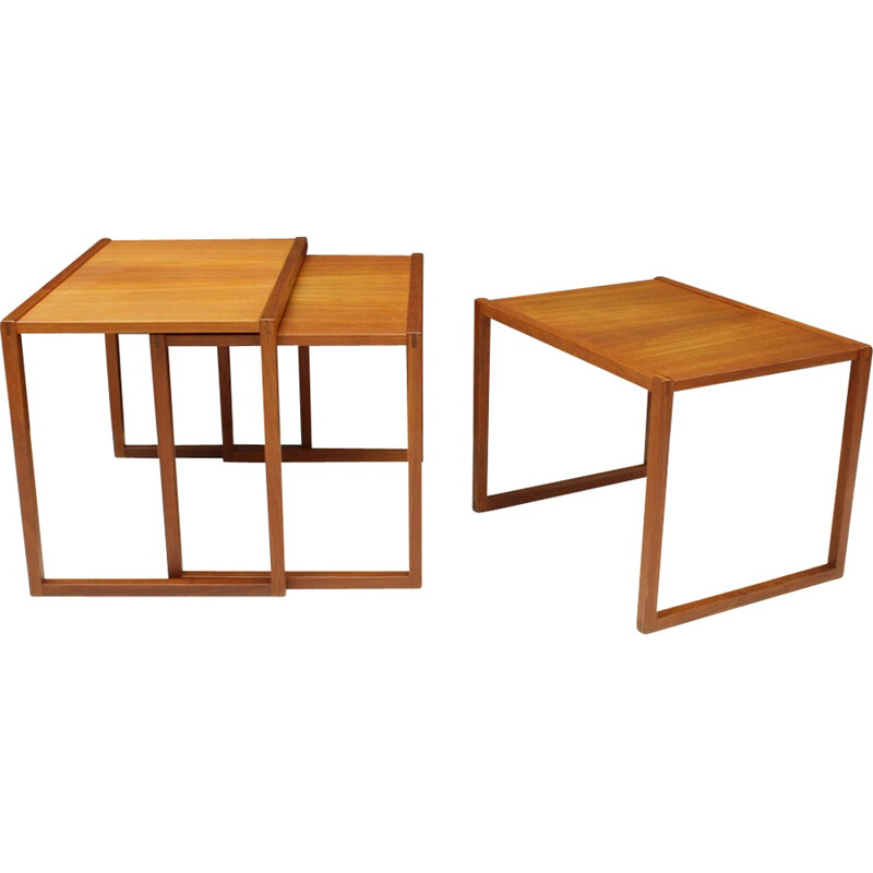 Vintage sef 3 Danish teak nesting tables Model 133 by Kai Kristiansen for Vildbjerg Møbelfabrik ApS - 1960s