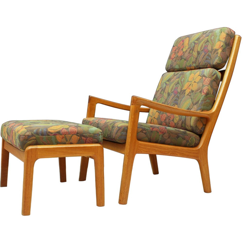 "Vintage Danish high back teak armchair with ottoman ""Senator"" by Ole Wanscher for P. Jeppesen Møbelfabrik AS - 1970s"