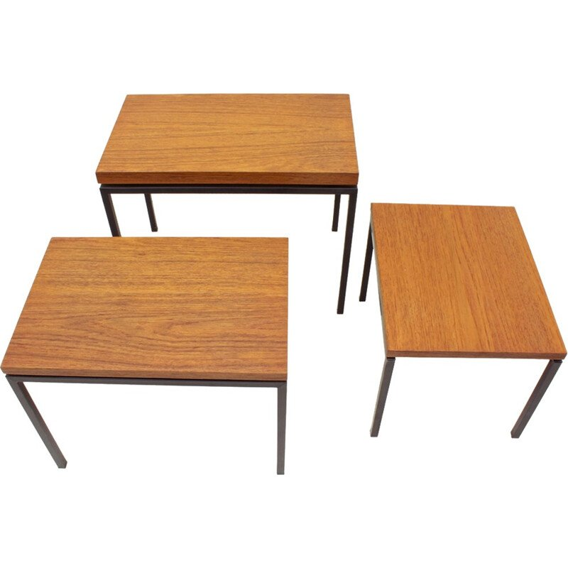 Vintage set of 3 Dutch teak and metal nesting tables by Cees Braakman for UMS - 1950s