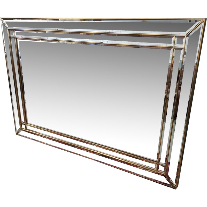 Vintage large gold plating mirror with cut mitered corners and facets by Deknudt - 1980s