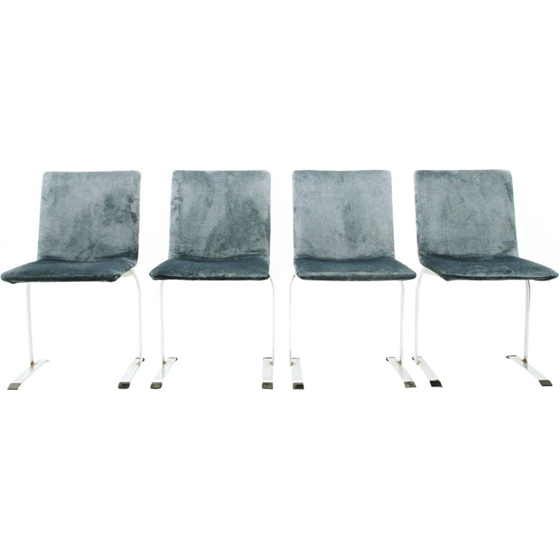 """Set of 4 velvet """"Inlay"""" chairs by Giovanni Offredi for Saporiti - 1970s"""