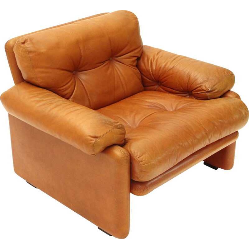 Vintage Coronado armchair in brown leather by Tobia Scarpa - 1960s
