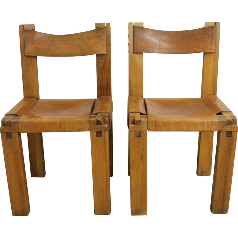 Set of 2 vintage S11 dining chairs by Pierre Chapo - 1960s
