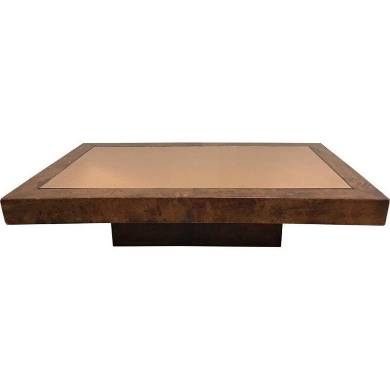 Vintage coffee table in parchment by Aldo Tura - 1970s