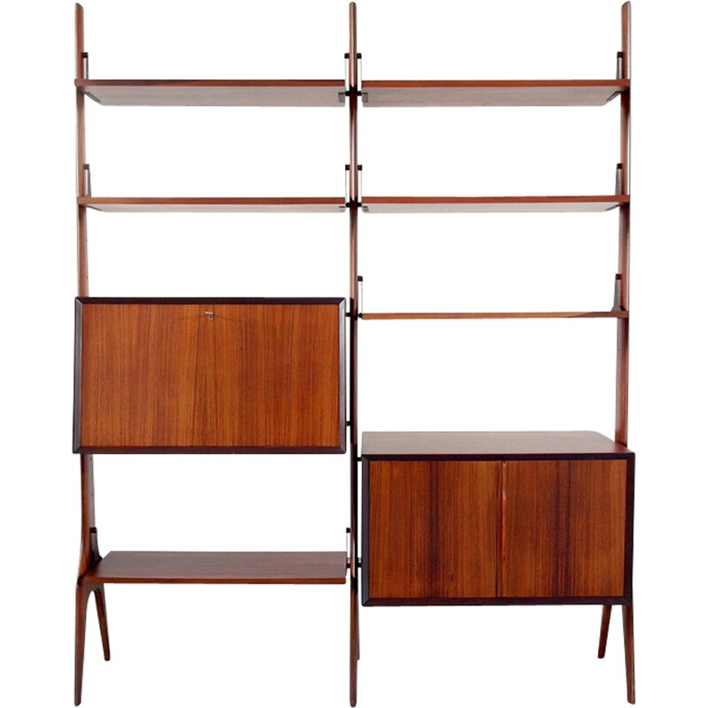 Vintage Italian shelving unit in rosewood - 1950s