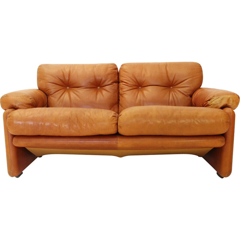 Brown leather Coronado two-seater sofa by Tobia Scarpa for B&B - 1960s