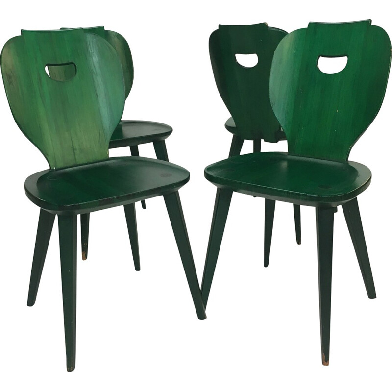 Set of 4 vintage swedish pine chairs by Carl Malmsten for Svensk Fur - 1950s