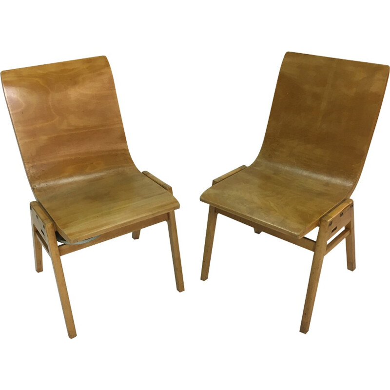 Set of 2 vintage Plywood Chair by Roland Rainer - 1950s