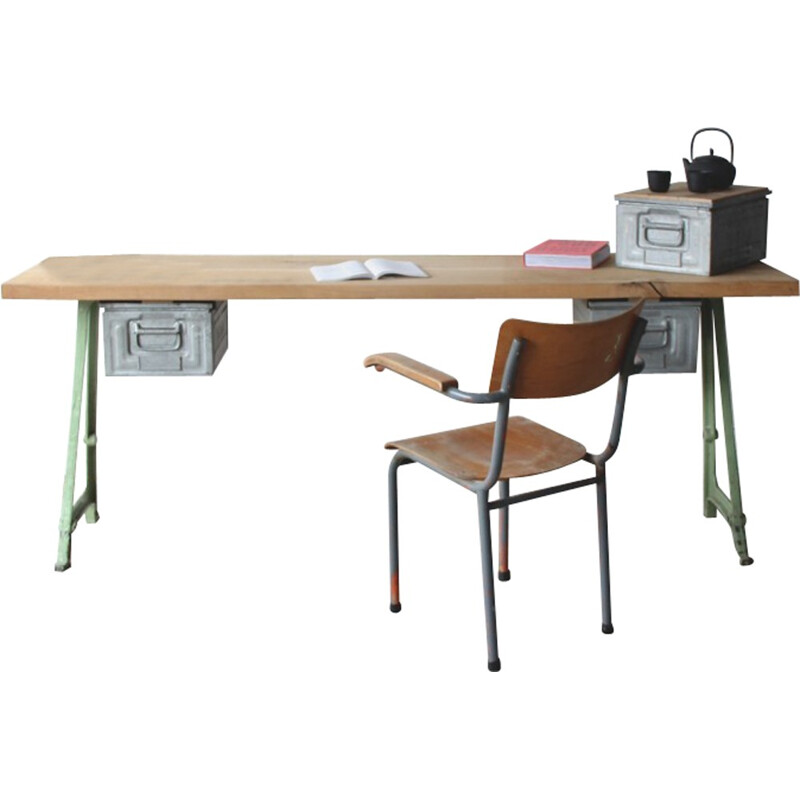Desk work table with old machine chassis - 1960s