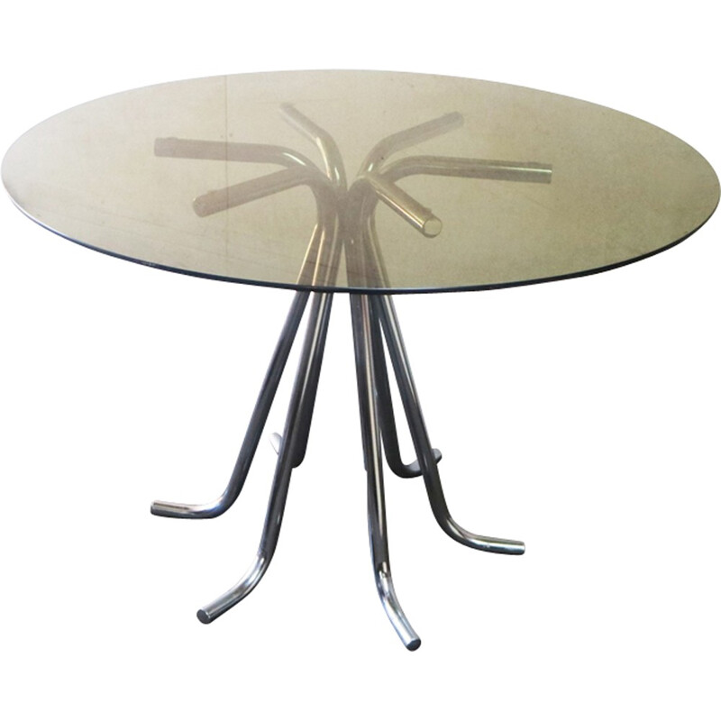 Vintage round dining table in brass - 1970s