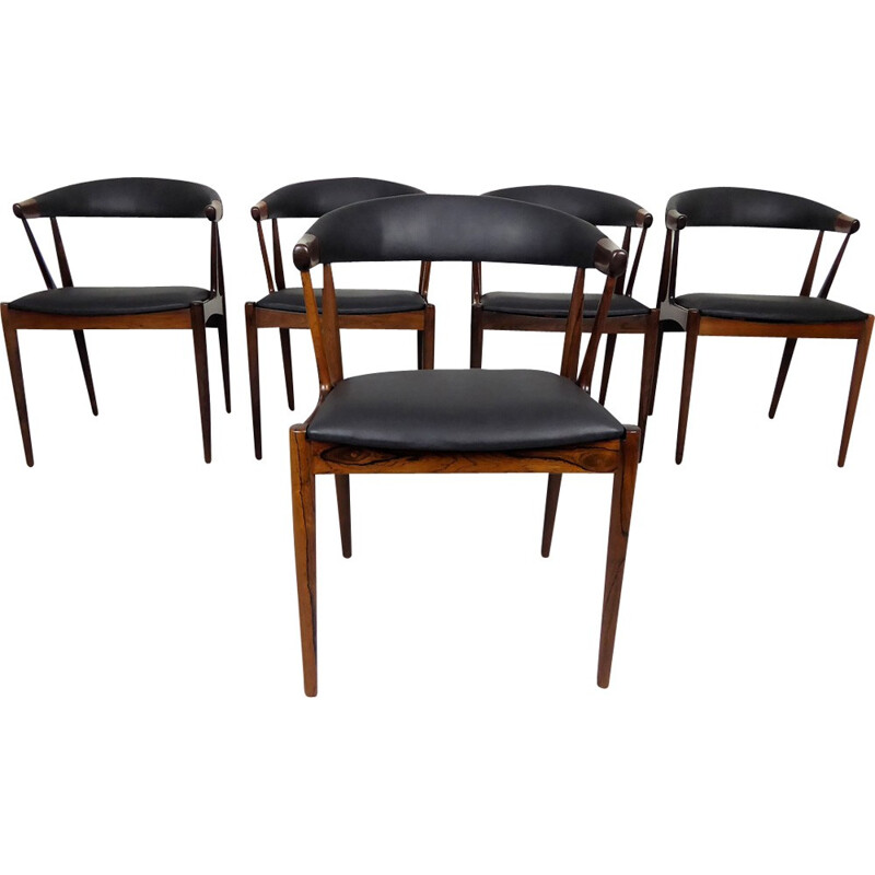 Set of 5 vintage dining chairs in rosewood by Johannes Andersen - 1960s
