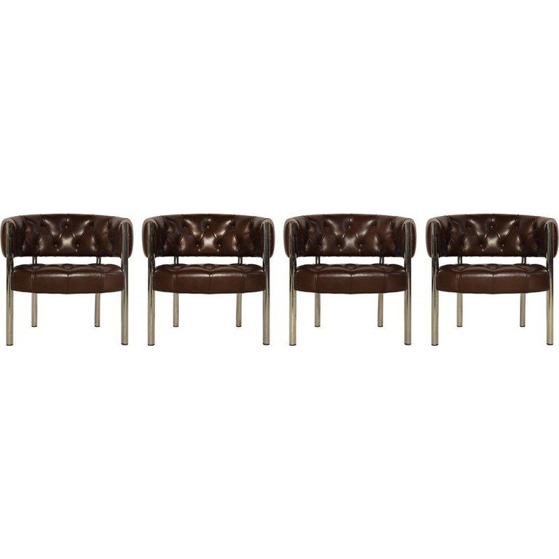 Vintage Set Of 4 Leather Lobby Chairs By Trix And Robert Haussmann For  Dietiker   1960s