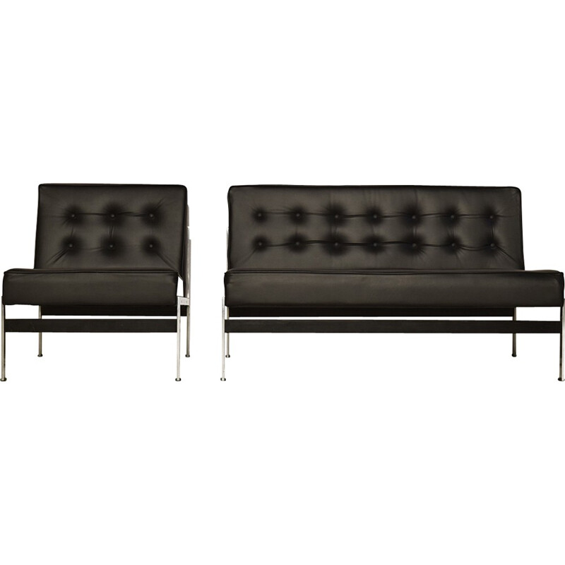"""Vintage minimalistic leather lounge set sofa """"020"""" by Kho LIang Ie for Artifort - 1950s"""