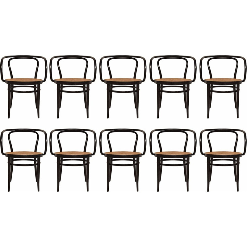Vintage 10 black No.209 chairs by Thonet - 1980s