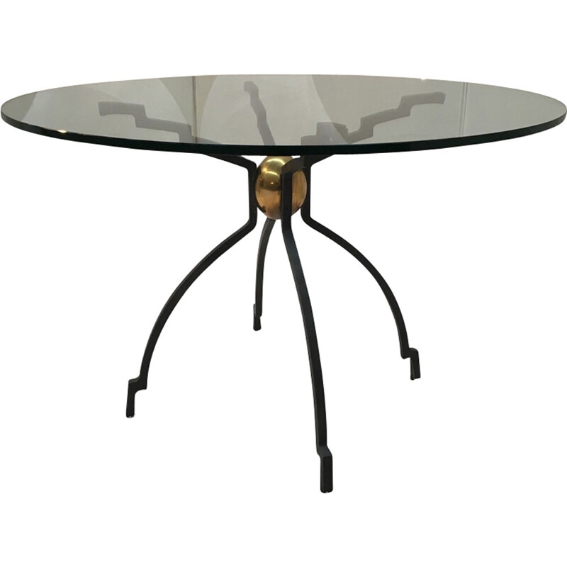 Vintage feet black metal dining table by Peter Ghyczy - 1970s