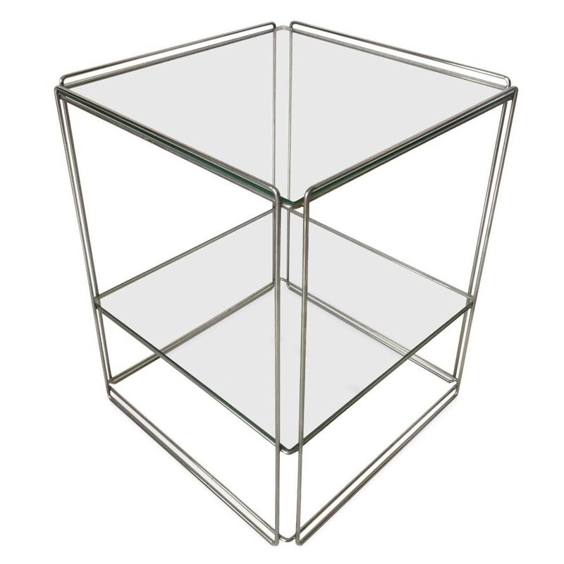 Two-Tiered Silver Side Table by Max Sauze - 1960s