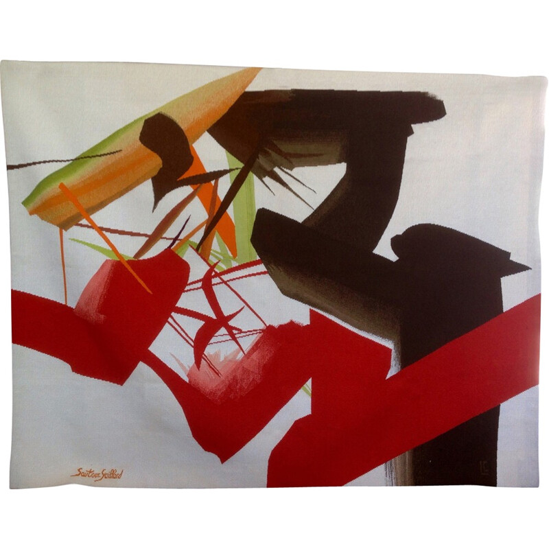 Vintage Colorful Tapestry by Jean-Rene Sautour-Gaillard - 1990s