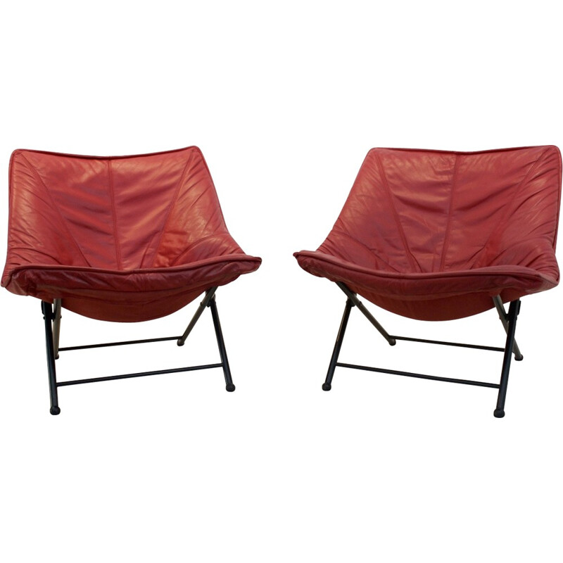 Vintage set of 2 easy chair in red leather by Teun Van Zanten for Molinari - 1970s