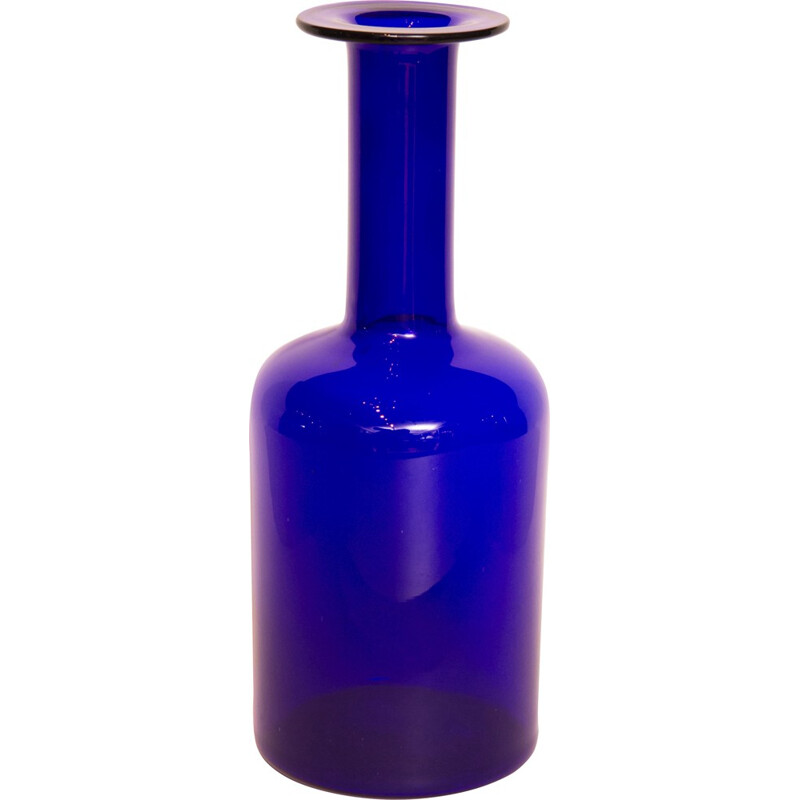 Vintage blue vase in glass by Otto Brauer for Holmegaard - 1960s
