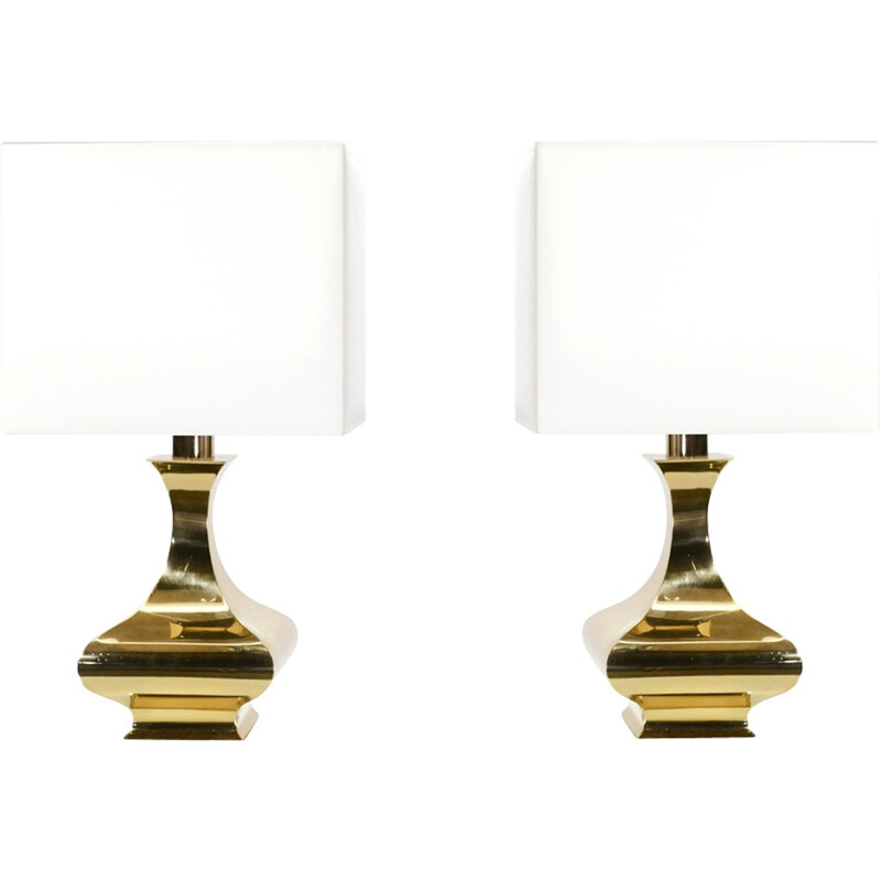 Pair of vintage table lamps in brass by Maria Pergay - 1970s