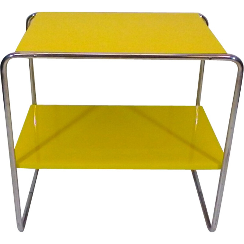 Vintage yellow coffee table in steel by Robert Slezák - 1940s