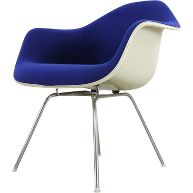 Blue vintage armchair with low H-Base by Charles Eames for Herman Miller - 1970s