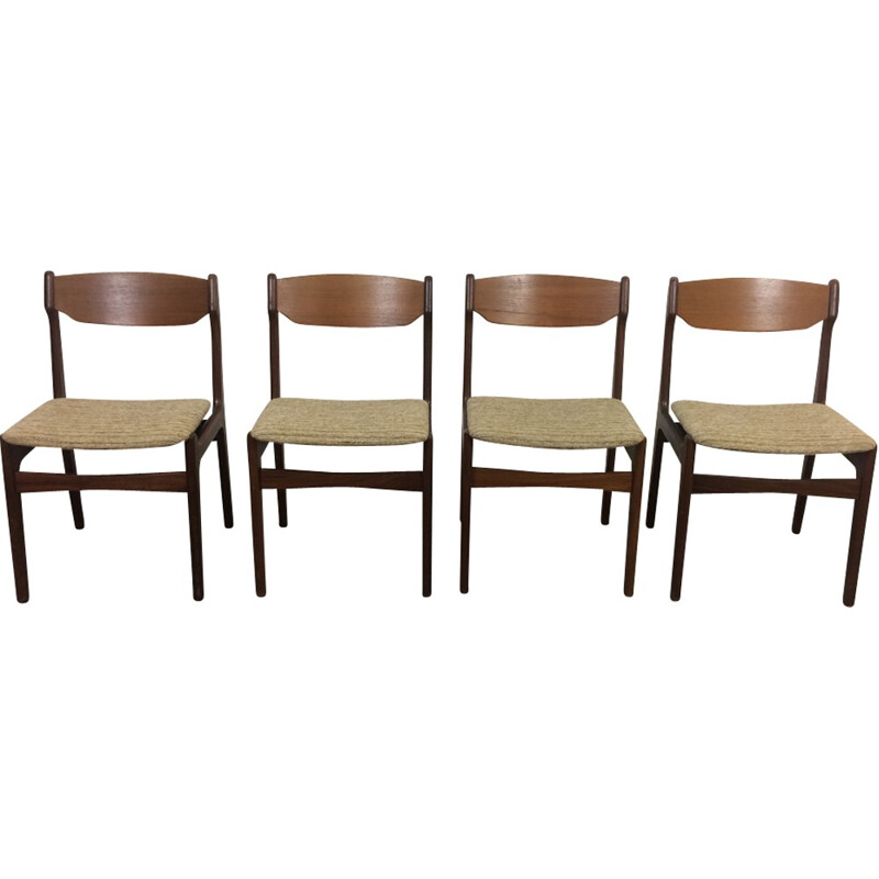 Set of 4 danish vintage chairs by Erik Buch - 1960s