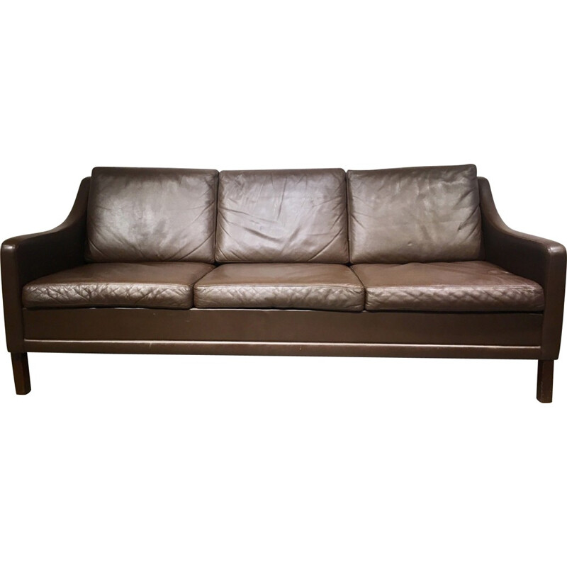Vintage 3-seater danish sofa in leather - 1960s