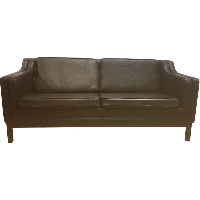 Vintage 3-seater sofa in leather - 1960s