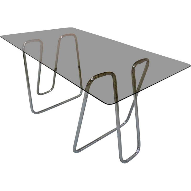 Vintage desk in metal and glass - 1970s