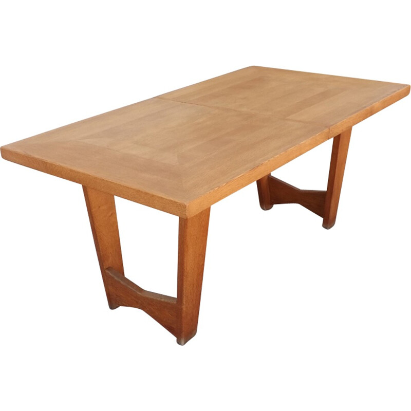 Vintage oak dining table by Guillerme and Chambron - 1950s