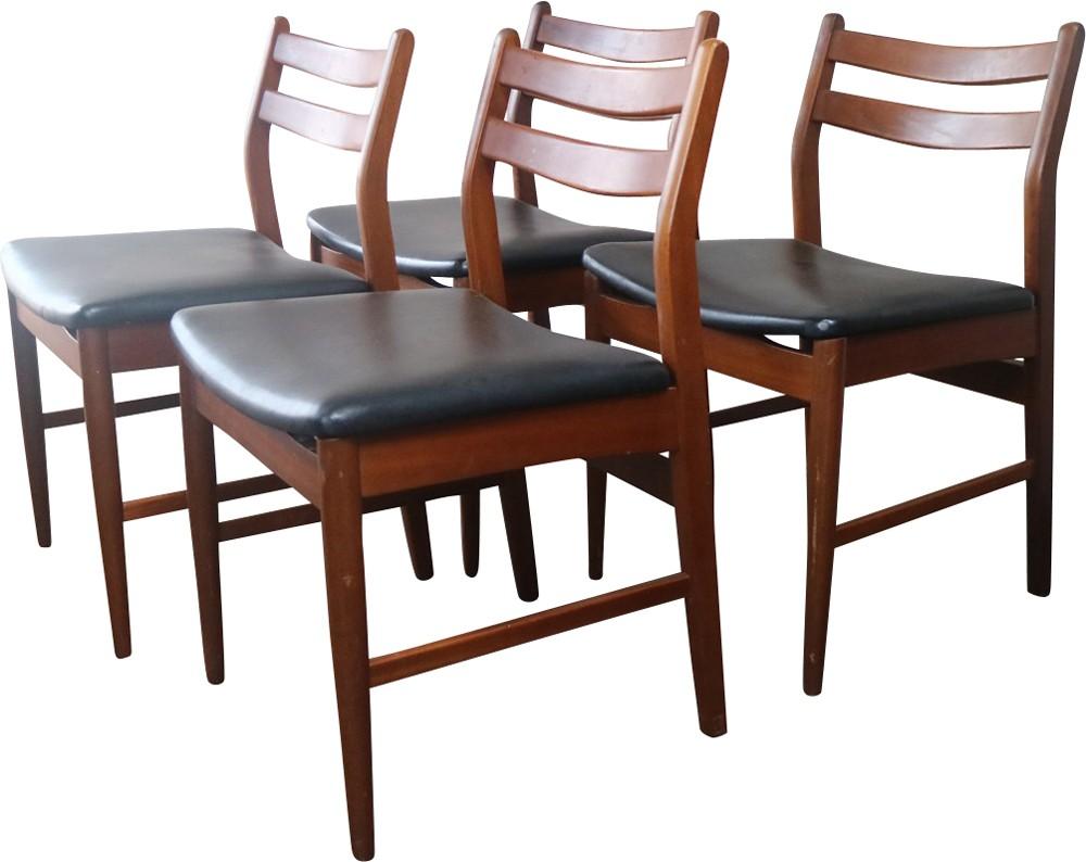 set of 4 vintage british black vinyl dining chairs 1970s design market. Black Bedroom Furniture Sets. Home Design Ideas