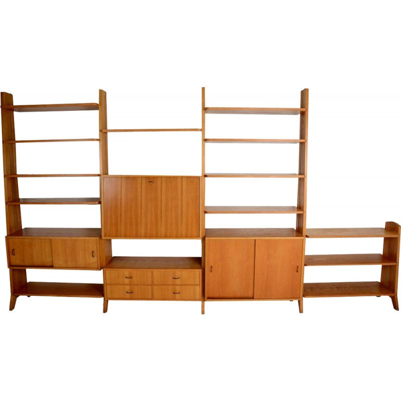 Large system of secretary and shelves, freestanding - 1970s
