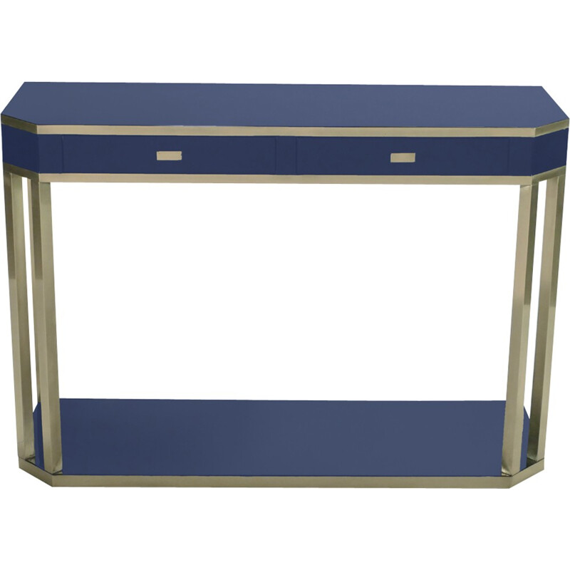 Lacquered blue console in brass by J.C. Mahey for Maison Romeo - 1970s