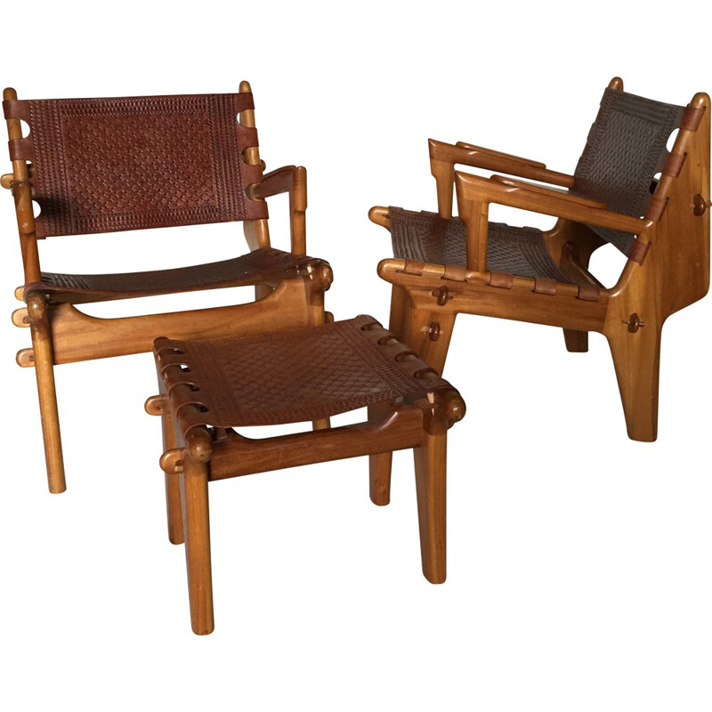 set of 2 armchairs and a footstool vintage by Angel Pazmino - 1960s