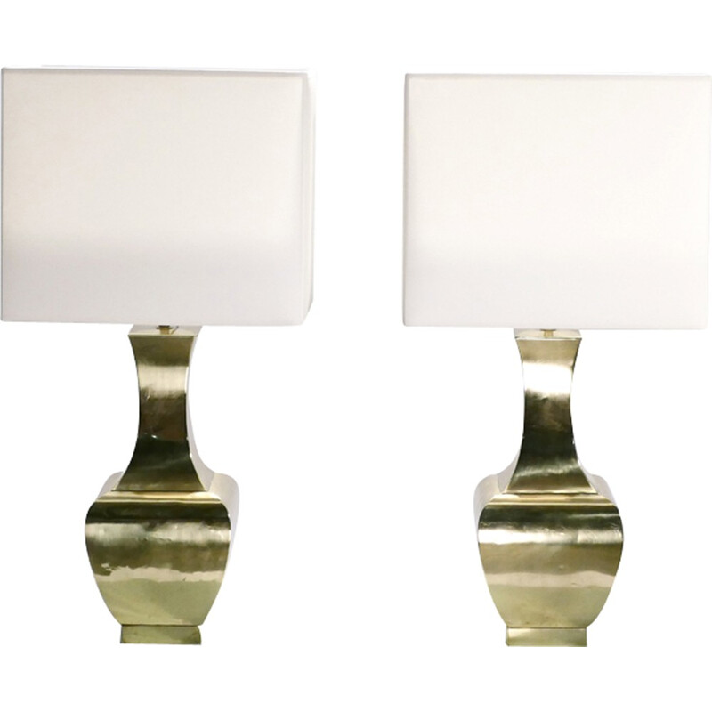 Set of 2 vintage brass lamps with the shades in cream color - 1970s