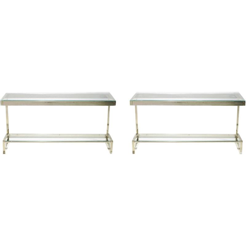 Set of 2 vintage consoles in brass by Belgochrom - 1970s