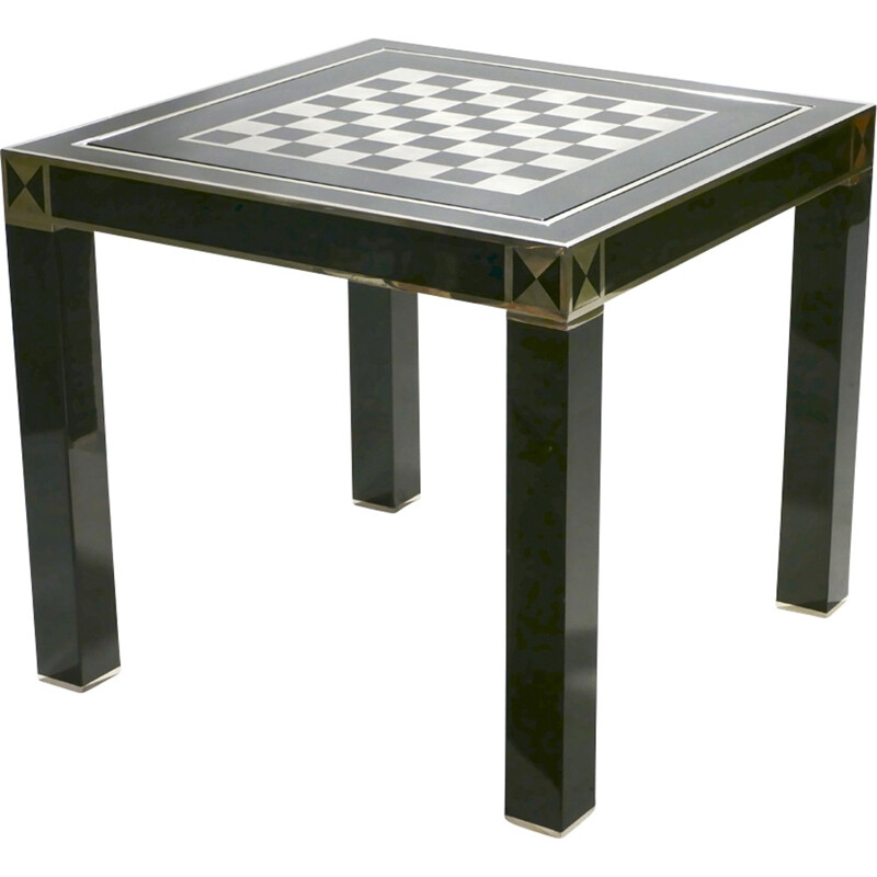 Lacquered and brass game table by J.C. Mahey, 1970