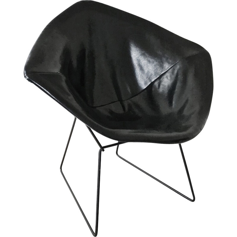 Vintage leather armchair by bBertoia Harry for Knoll - 1970s