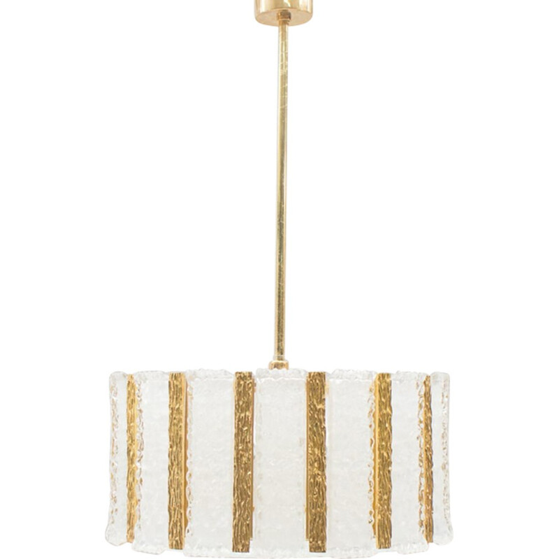 Pendant lamp in Gold-Plated & Frosted Ice Glass by Kalmar - 1960s