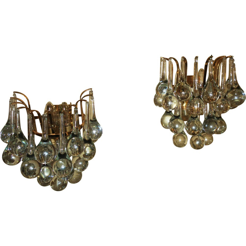 Set of 2 vintage Sconces in Glass in Gilt Brass by Christoph Palme - 1970s