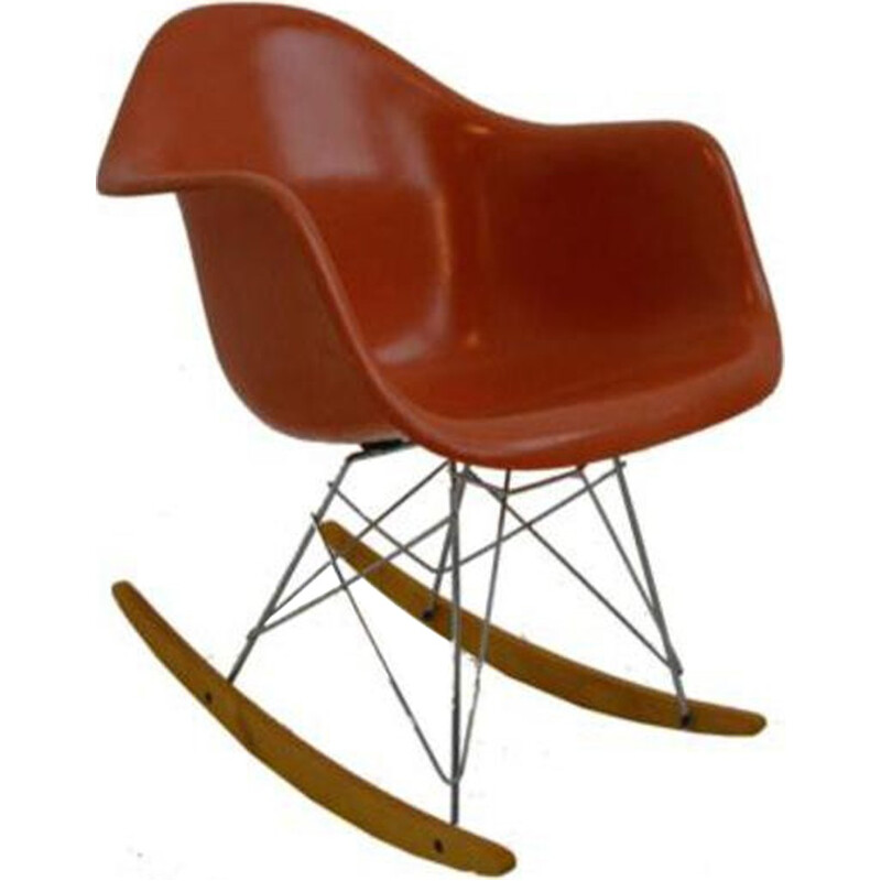 Vintage orange RAR Rocking chair by Ray & Charles Eames - 1960s