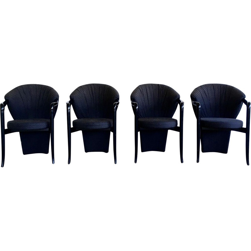 Set of Four Black Dining Room Chairs by Pietro Constantini - 1980s