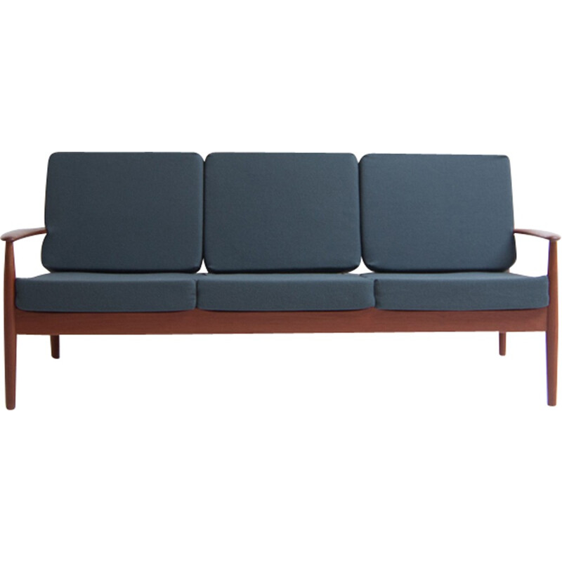 Vintage blue 3-seater sofa by Grete Jalk - 1960s