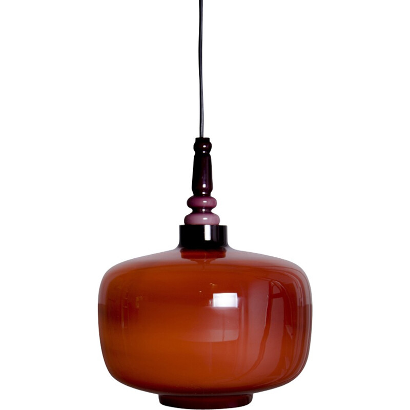 Vintage pendant lamp in opaline glass by Hans Agne Jakobsson for Svera - 1960s
