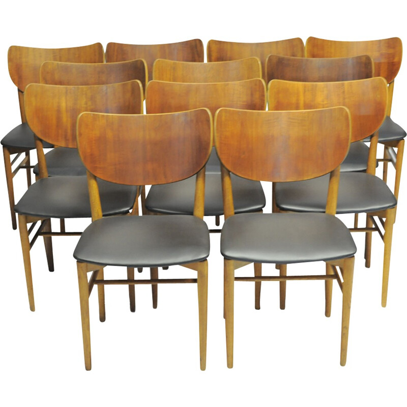 Set of 12 dining chairs in teak by Niels Koppel - 1950s