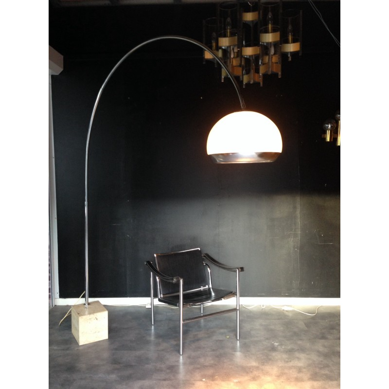 Arc Floor Lamp In Marble And Metal Harvey Guzzini 1970s